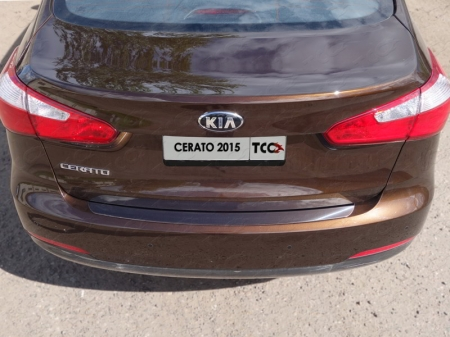 Накладка на задний бампер (лист зеркальный)  Kia Cerato 2015  KIACER15-03